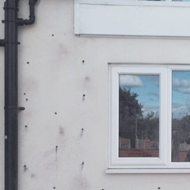Drill holes ready for Cavity wall insulation