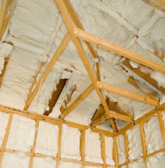 Spray foam insulation in a loft space