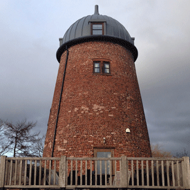 A windmill that is now insulated with spray foam