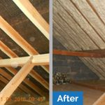 Before and after comparison of our spray foam loft insulation