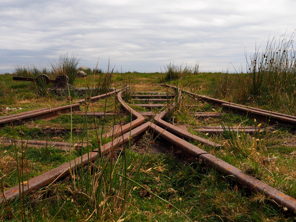 Rusty track and points of the a disused railway