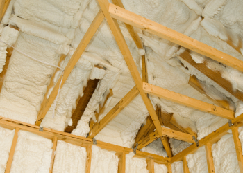 Spray foam insulation in a loft space