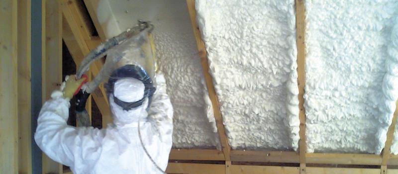Spray foam loft insulation